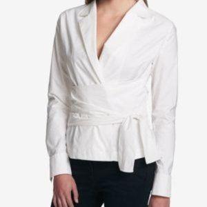 DKNY Wrap Cotton Blouse Shirt White XL NWT